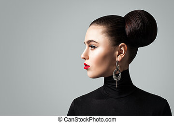 perfil, mujer, peinado, joven, bollo de pelo, bastante, retrato