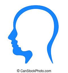 perfil, mujer, silhouette., vector, cara, hombre