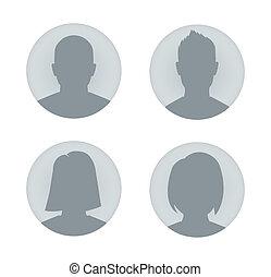 perfil, mujer, usuario, ilustración, hombre