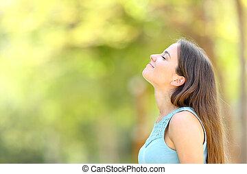 perfil, mulher, ar, respirar, floresta, fresco