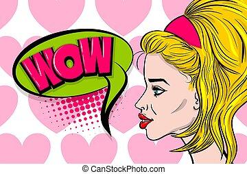 perfil, mulher, arte, estouro, rosto, moda