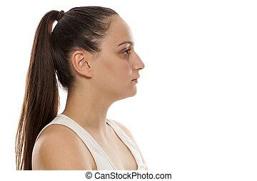 perfil, mulher bonita, jovem