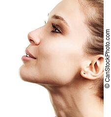 perfil, mulher bonita, rosto, limpo, pele