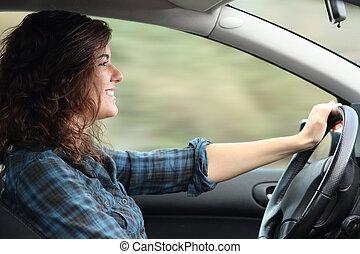 perfil, mulher carro, dirigindo, feliz