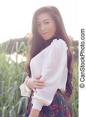 perfil, mulher, jovem, asiático