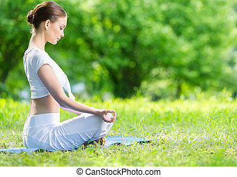 perfil, mulher, loto, zen, posição, gesticule