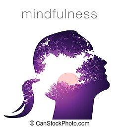 perfil, mulher, mindfulness