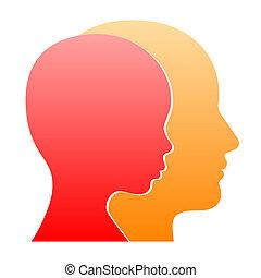 perfil, mulher, silhouette., vetorial, rosto, homem
