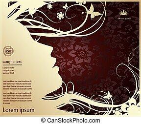 perfil, mulher, silueta