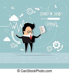 perfil, negócio, candidato, currículo, lista, cv, recrutamento, trabalho, posição, vitae, cheque, homem