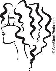 perfil, niña, con, pelo ondulado