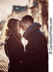perfil, pareja, atractivo, vista