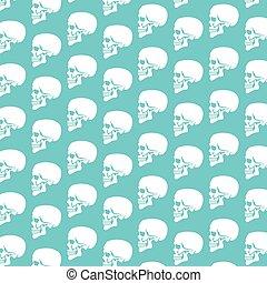 perfil, patrón, cráneo humano, plano de fondo