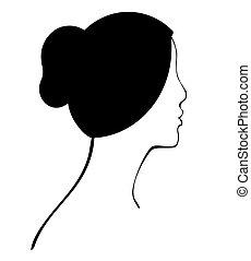 perfil, pelo, mujer, bollo, vector