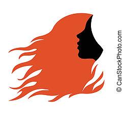 perfil, pelo, mujer, rojo