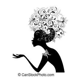 perfil, pelo, niña, adornado