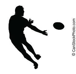 perfil, pelota, rugby, speedster, paso, lado