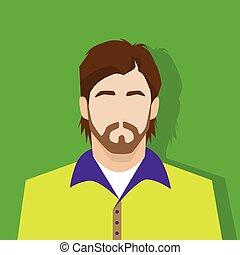 perfil, persona, avatar, retrato, macho, casual, icono