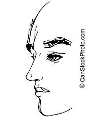 perfil, pessoa, esboço, retrato