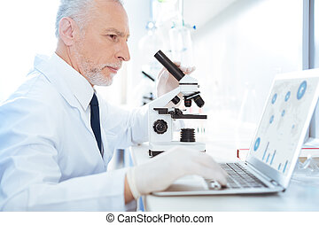 perfil, quadro, investigador, diagrama, analisando, atento