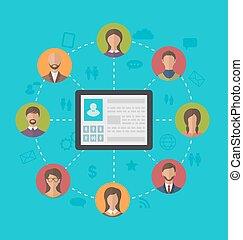 perfil, rede, tabuleta, computador, social, frie, página, ao redor