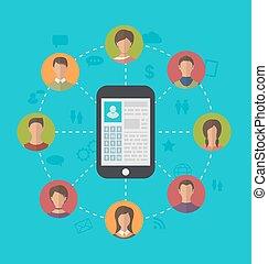 perfil, rede, telefone, friendsh, social, página, esperto, ao redor