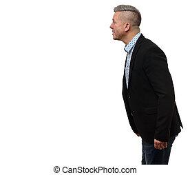 perfil, retrato, de, sério, maduras, homem negócios