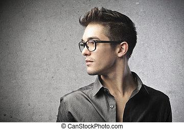 perfil, retrato, homem