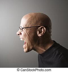 perfil, screaming., homem