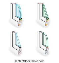 perfil, section., eficiente, energía, cruz, ilustración, ...