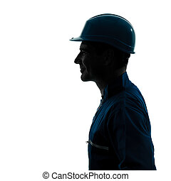 perfil, sideview, silueta, trabajador, construcción, retrato, hombre