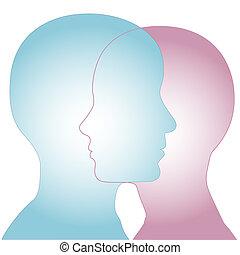 perfil, silueta, &, fusão, femininas, caras, macho