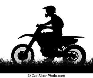perfil, silueta, scrambler, biker, lado del camino, de