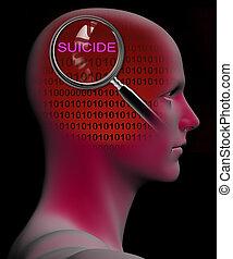 perfil, suicidio, arriba, vidrio, cierre, aumentar, hombre