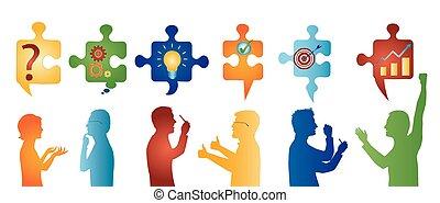 perfil, symbols., colorido, pessoas negócio, solution., quebra-cabeça, resolvendo, pedaços, team., conceito, cliente, gesturing., problema, estratégia, serviço, success.