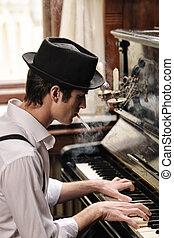 perfil, technique., poseer, joven, he?s, cigarrillo, el suyo, obtenido, fumar, piano, guapo, juego, hombre
