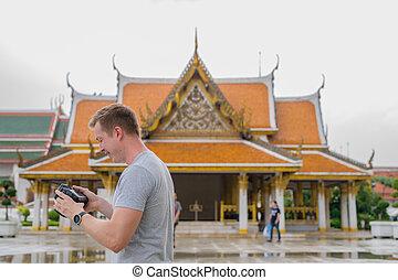 perfil, turista, verificar, budista, joven, contra, bangkok...