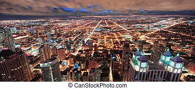 perfil urbano, chicago, panorama