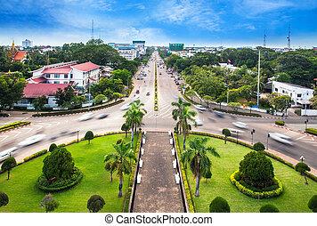 perfil urbano, ciudad, laos, vientiane