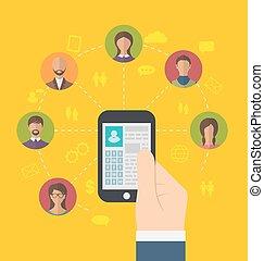 perfil, usuários, ícones, telefone, conexão, social, página