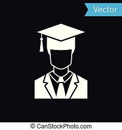 perfil, vestido, boné, isolado, graduação, graduado, experiência., vetorial, pretas, ilustração, estudante, macho branco, ícone