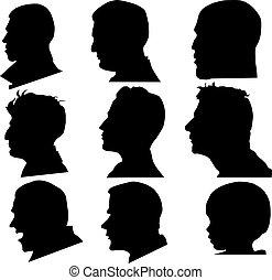 perfil, vetorial, rosto