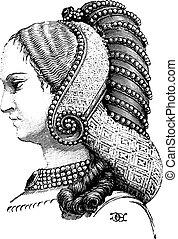 perfil, vindima, prévio, engraving., penteado