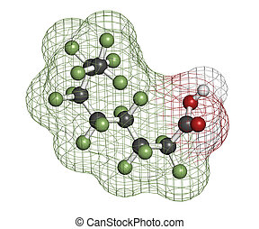 Perfluorooctanoic acid (PFOA, C8) molecule. Important and persistent pollutant. Atoms are represented as spheres with conventional color coding: hydrogen (white), carbon (grey), fluorine (green), oxygen (red).