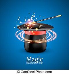 perfomance., 魔法 ショー, wand., wizzard, ベクトル, 背景, 手品師, 帽子