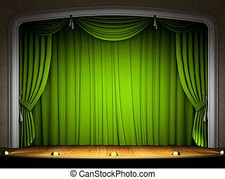 perfomance, aspettativa, tenda verde, palcoscenico vuoto