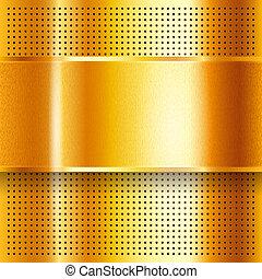 perforé, doré, feuille, métallique