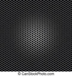 perforé, noir, métal, point, texture