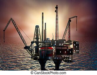 perforación, plataforma cercana costa, en, noche, sea., 3d, ilustración