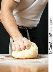 perforación, tabla, panadero, macho, masa